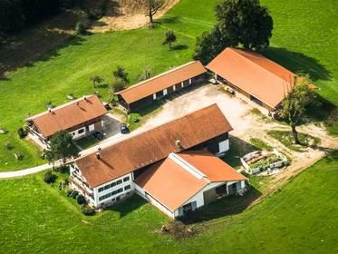 Bauernhaus kaufen, Luftbild von einem Gruppenhof mit fünf optisch zusammengehörigen Gebäuden Foto: fottoo/stock.adobe.com