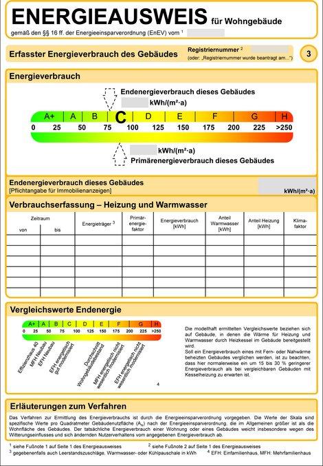 Energieausweis, Verbrauchsausweis, Quelle: bmwi