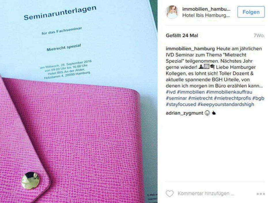 Social Media, Makler Instagram, Screenshot: instagram.com/immobilien_hamburg