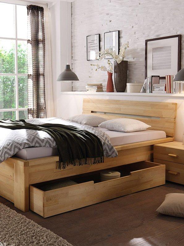 Bett mit Schubladen, kleine Wohnung einrichten, Zimmer gestalten, kleines Zimmer einrichten, kleine Räume gestalten, Foto: woodlive.de