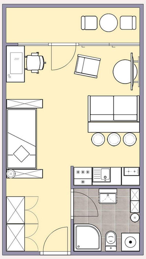 Kleine Wohnung einrichten, Zimmer einrichten, kleines Zimmer gestalten, kleine Räume gestalten. Grundriss: Immowelt / easy2d.de