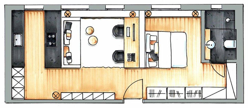 Kleine Wohnung einrichten, Zimmer einrichten, kleines Zimmer gestalten , kleine Räume gestalten, Grundriss: Claudia Haubrock / www.claudia-haubrock.de