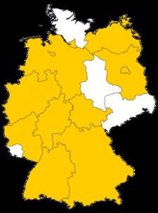 Mietpreisbremse, Deutschlandkarte mit allen Bundesländern - jene mit Mietpreisbremse sind gelb eingefärbt, Grafik: immowelt