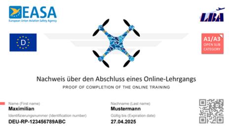 """Abbildung eines """"Nachweis über den Abschluss eines Online-Lehrgangs"""" Quelle: EASA - Europäische Agentur für Flugsicherheit"""