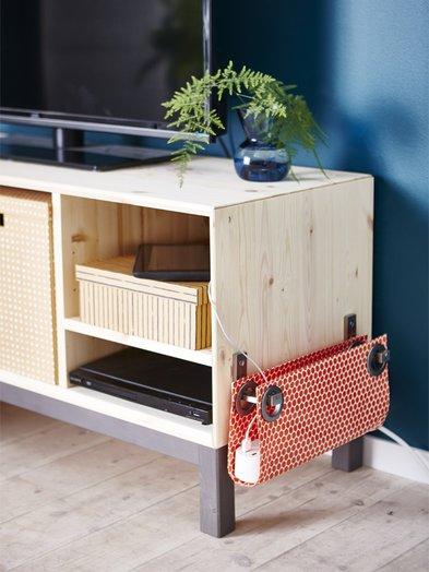 Kabelverstecken, Tasche an Möbelstück, Tasche für Mehrfachsteckdose, Foto: Ikea.com