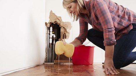 Eine Frau nimmt mit einem Schwamm Wasser vom Boden auf. Foto: Monkey-Business / stock.adobe.com