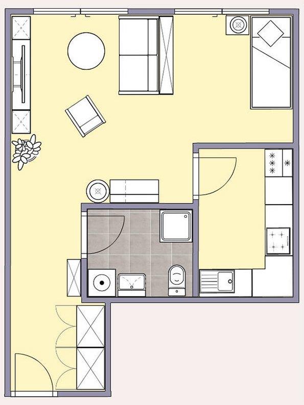 Kleine Wohnung gestalten, Zimmer einrichten, kleines Zimmer gestalten, kleine Räume gestalten. Grundriss: Immowelt / easy2d.de
